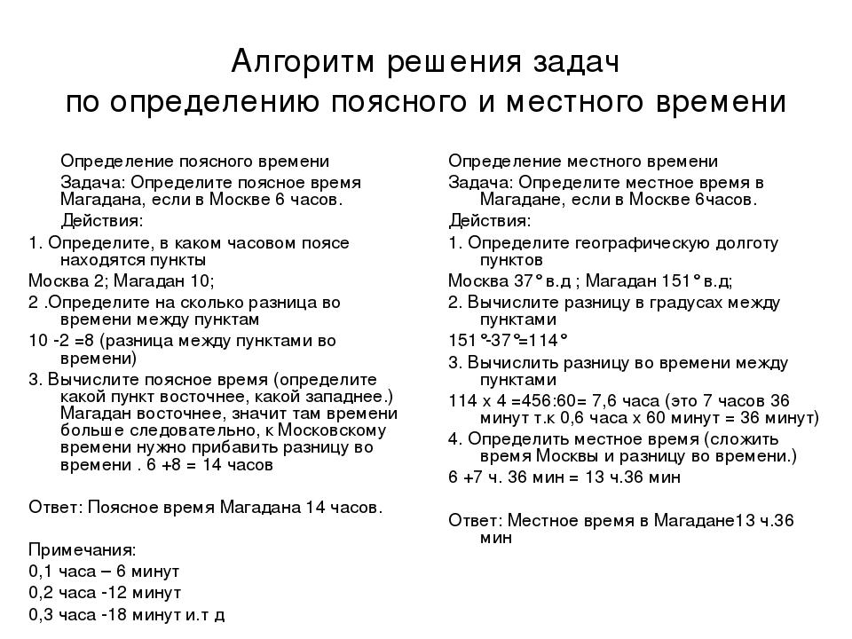 Местное время решение задачи b2 формула решения задач