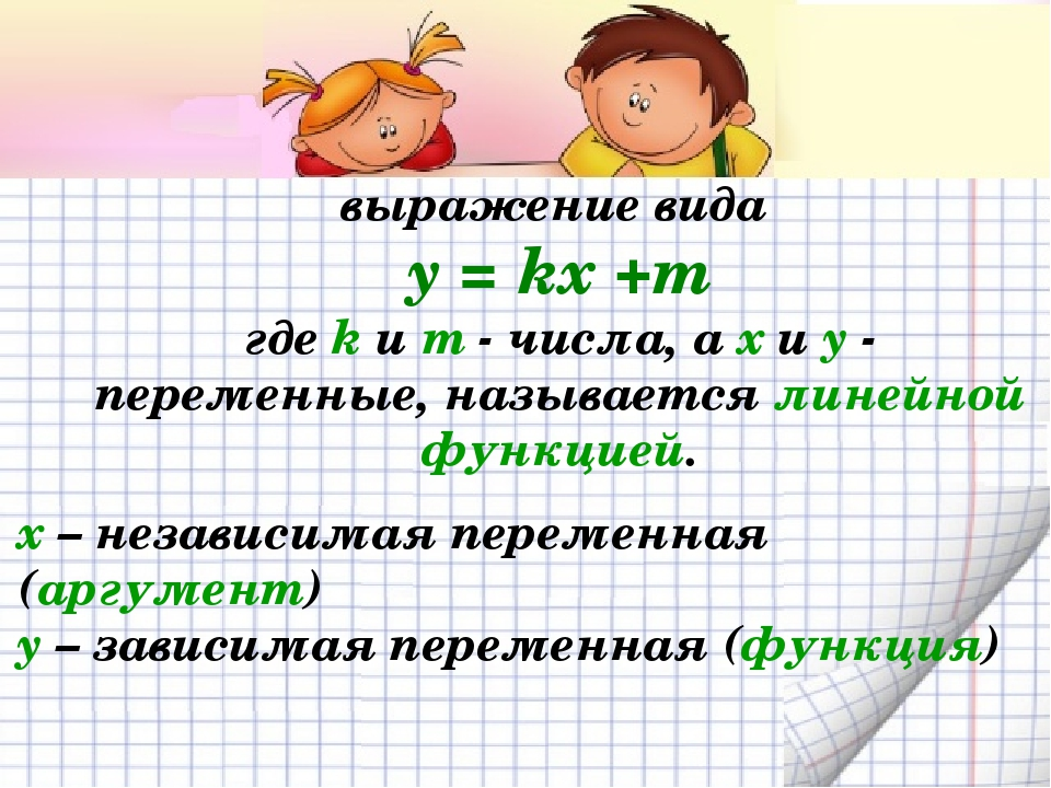 выражение вида y = kx +m где k и m - числа, а x и y - переменные, называется...