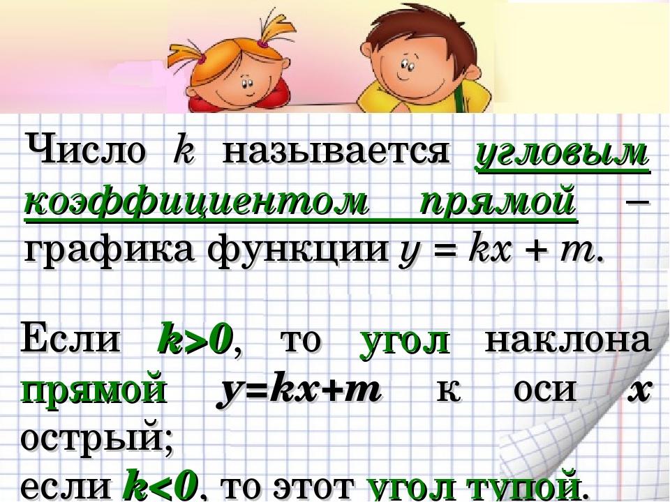 Число k называется угловым коэффициентом прямой – графика функции у = kx + m....