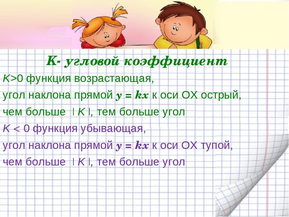 K- угловой коэффициент K>0 функция возрастающая, угол наклона прямой y = kx к...