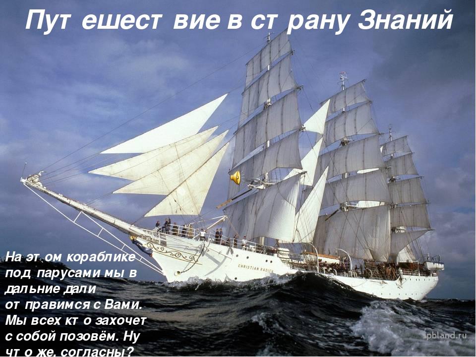 Путешествие в страну Знаний На этом кораблике под парусами мы в дальние дали...