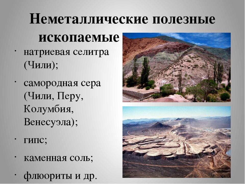 Неметаллические полезные ископаемые континента: натриевая селитра (Чили); сам...