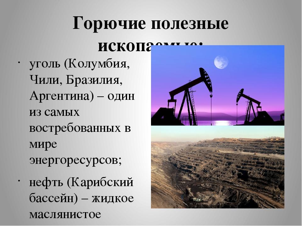Горючие полезные ископаемые: уголь (Колумбия, Чили, Бразилия, Аргентина) – од...