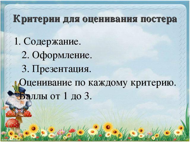Критерии оценивания постеров