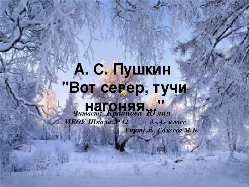 """А. С. Пушкин """"Вот север, тучи нагоняя..."""" Читает: Крайнова Юлия МБОУ Школа №..."""