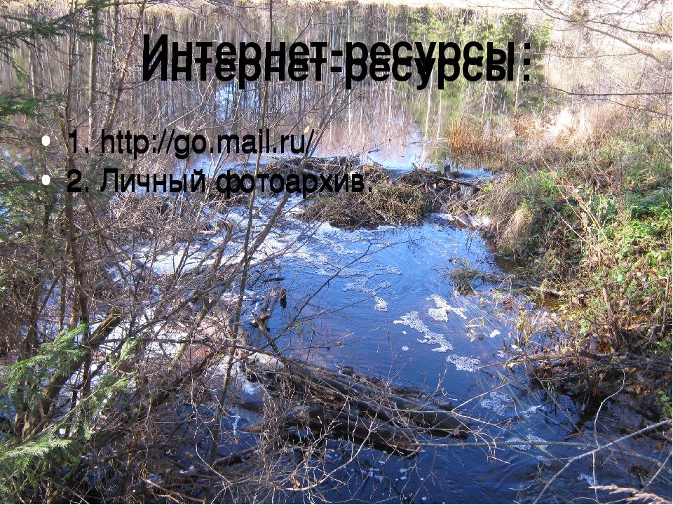 Интернет-ресурсы: 1. http://go.mail.ru/ 2. Личный фотоархив. Интернет-ресурсы...