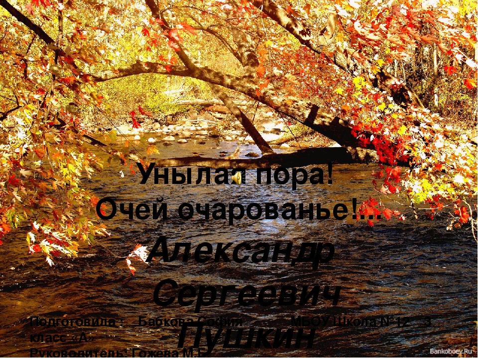 Унылая пора! Очей очарованье!... Александр Cергеевич Пушкин Подготовила : Баб...