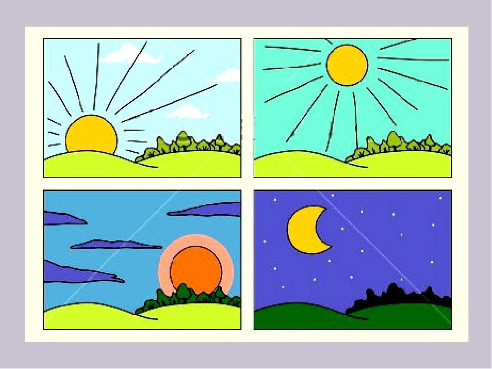 Картинки, время суток по часам утро день вечер ночь картинки для детей