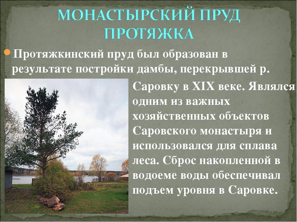 Протяжкинский пруд был образован в результате постройки дамбы, перекрывшей р....