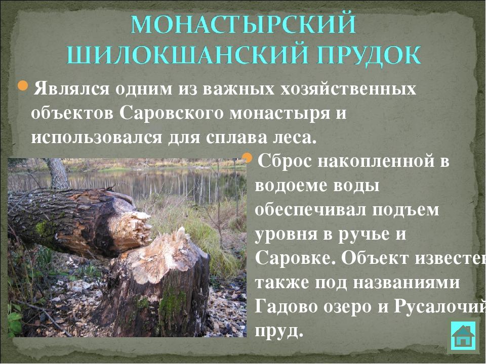 Сброс накопленной в водоеме воды обеспечивал подъем уровня в ручье и Саровке....