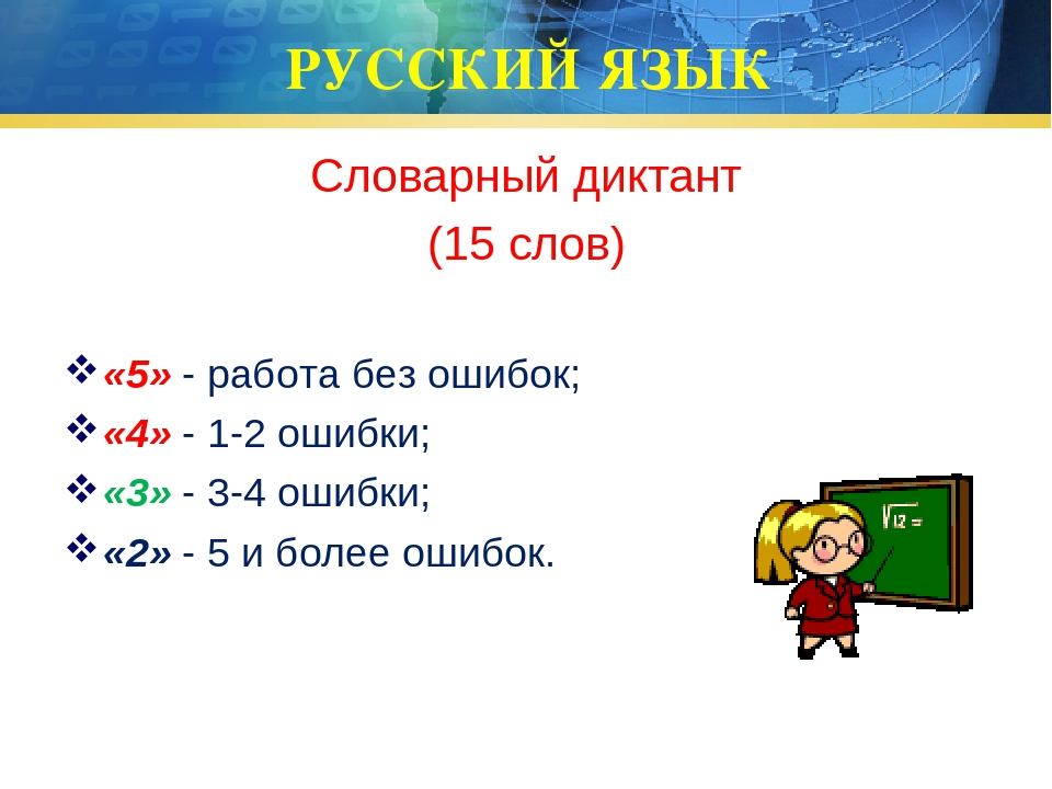 РУССКИЙ ЯЗЫК Словарный диктант (15 слов) «5» - работа без ошибок; «4» - 1-2 о...