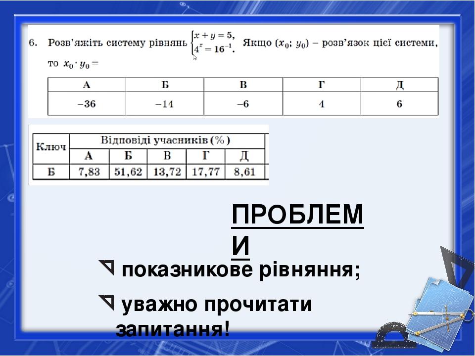 показникове рівняння; уважно прочитати запитання! ПРОБЛЕМИ
