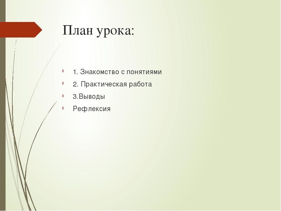 План урока: 1. Знакомство с понятиями 2. Практическая работа 3.Выводы Рефлексия