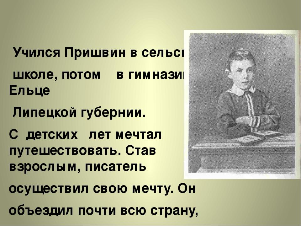 Учился Пришвин в сельской школе, потом в гимназии в Ельце Липецкой губернии....