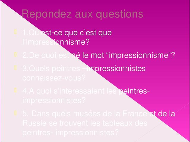 impressionism questions Looking for top impressionism quizzes play impressionism quizzes on proprofs, the most popular quiz resource choose one of the thousands addictive impressionism quizzes, play and share impressionism.