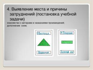 4. Выявление места и причины затруднений (постановка учебной задачи) знакомст