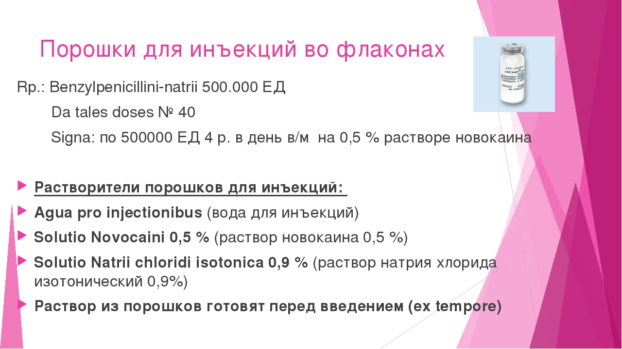 Порошки для инъекций во флаконах Rp.: Benzylpenicillini-natrii 500.000 ЕД Da...