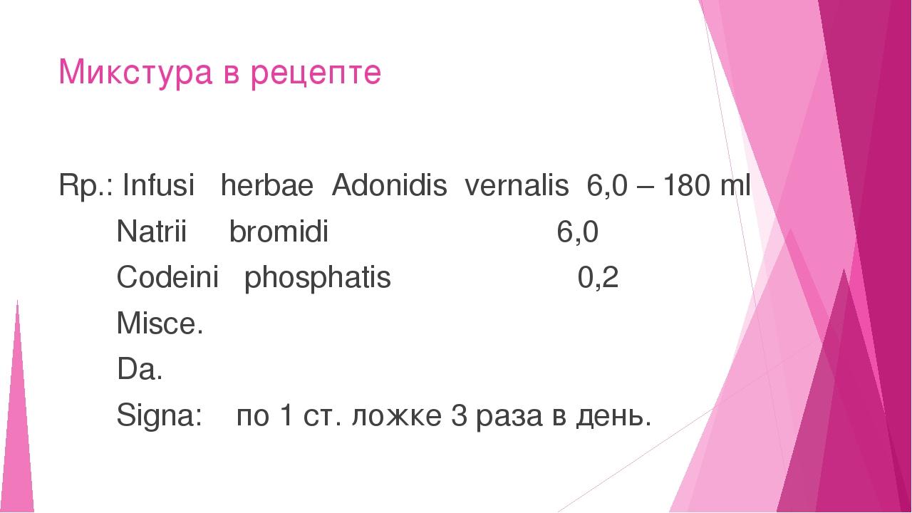 Микстура в рецепте Rp.: Infusi herbae Adonidis vernalis 6,0 – 180 ml Natrii b...
