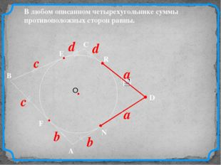 D В С В любом описанном четырехугольнике суммы противоположных сторон равны.