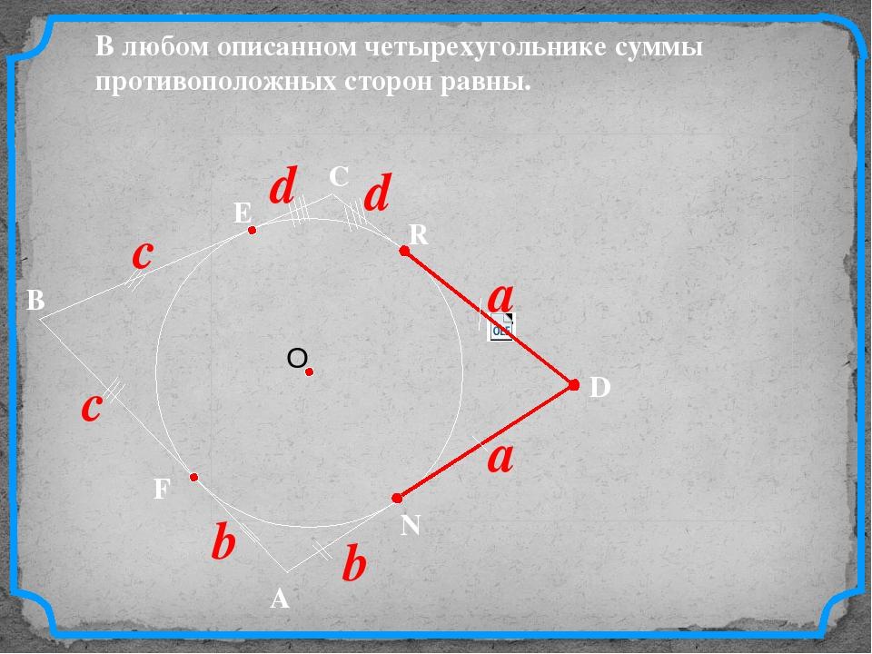 D В С В любом описанном четырехугольнике суммы противоположных сторон равны....
