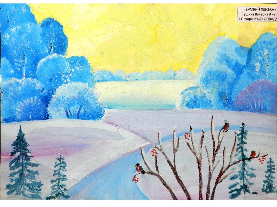 Зимние пейзажи рисуем гуашью