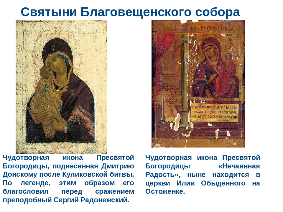 Святыни Благовещенского собора Чудотворная икона Пресвятой Богородицы, поднес...
