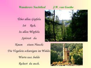 Wanderers Nachtlied J.W. von Goethe Über allen Gipfeln Ist Ruh, In allen Wipf