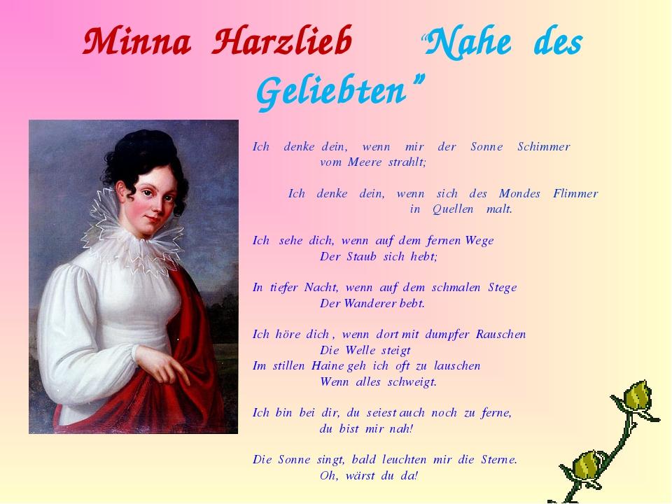 """Minna Harzlieb """"Nahe des Geliebten"""" Ich denke dein, wenn mir der Sonne Schimm..."""