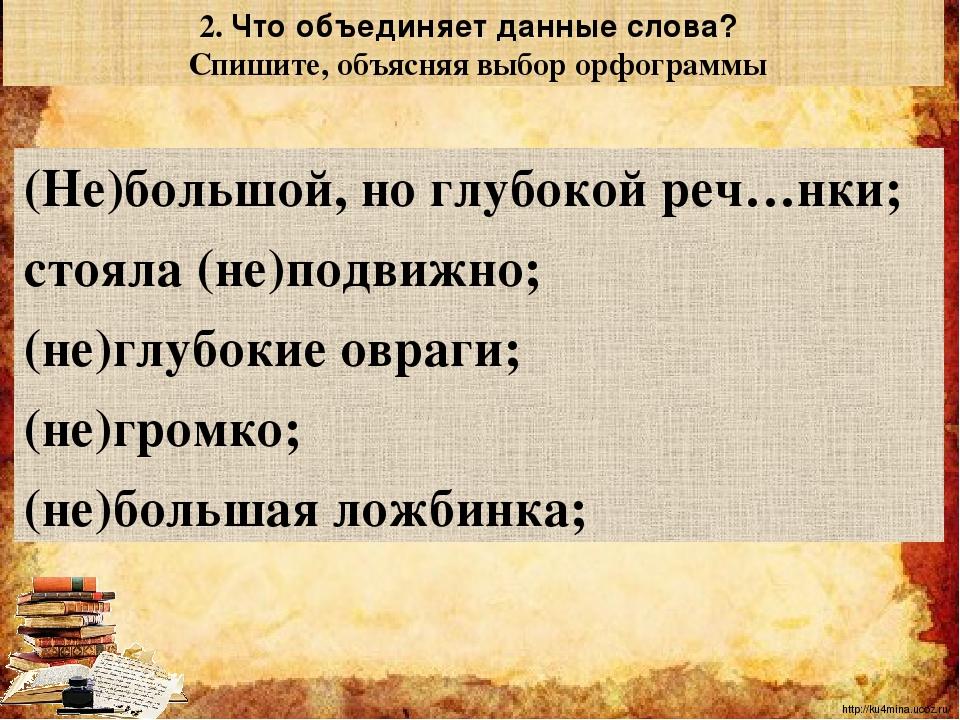 (Не)большой, но глубокой реч…нки; стояла (не)подвижно; (не)глубокие овраги; (...