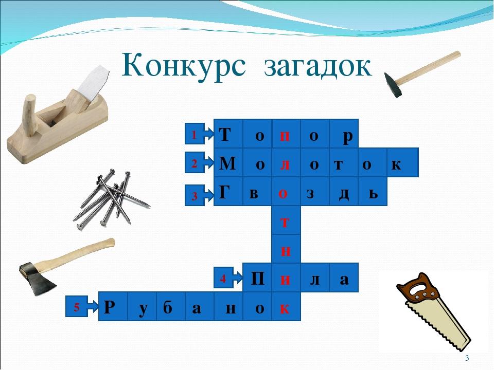 Конкурс загадок 1 2 3 4 5 Т о п о р М о л о т о к Г в о з д ь П и л а Р у б а...
