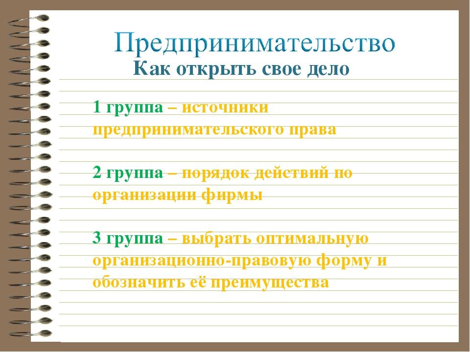 Как открыть свое дело 1 группа – источники предпринимательского права 2 групп...