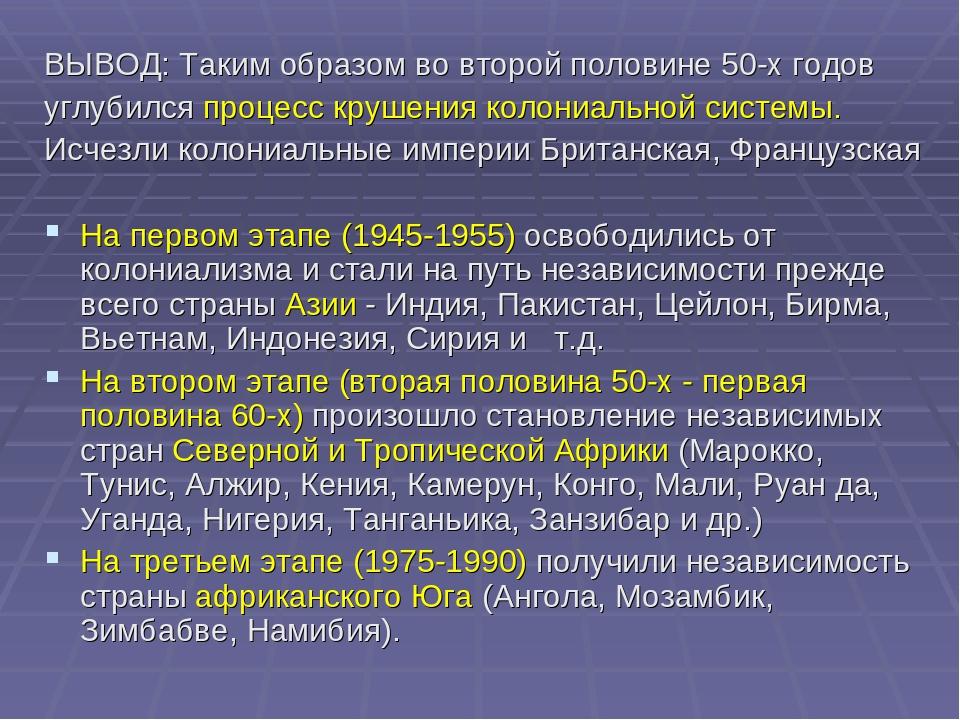 ВЫВОД: Таким образом во второй половине 50-х годов углубился процесс крушения...