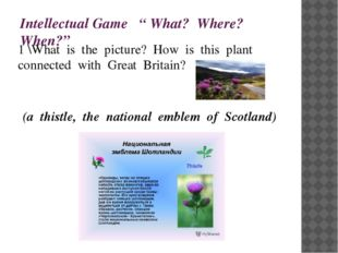 """Intellectual Game """" What? Where? When?"""" 1 \What is the picture? How is this p"""