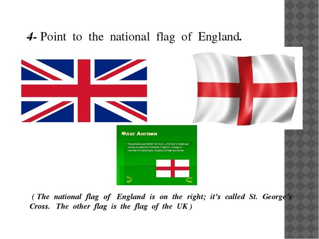 4- Point to the national flag of England. ( The national flag of England is o...