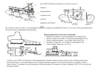 Плуг ПЛН 3-35 имеет устройство, которое состоит из: навески предплужника опор
