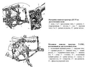 Настройка навески трактора ДТ-75 по двухточечной схеме: 1 - цепь; 2 и 9 - про