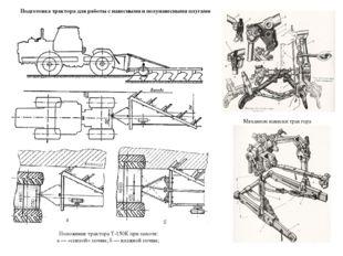 Механизм навески трактора Положение трактора Т-150К при пахоте: а — «спелой»