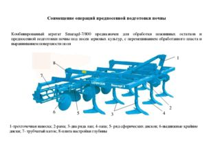 Совмещение операций предпосевной подготовки почвы Комбинированный агрегат Sma