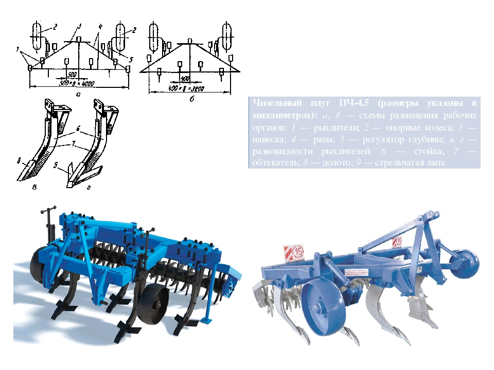 Чизельныйплуг ПЧ-4,5 (размеры указаны в миллиметрах):а,б —схемы размещения р...