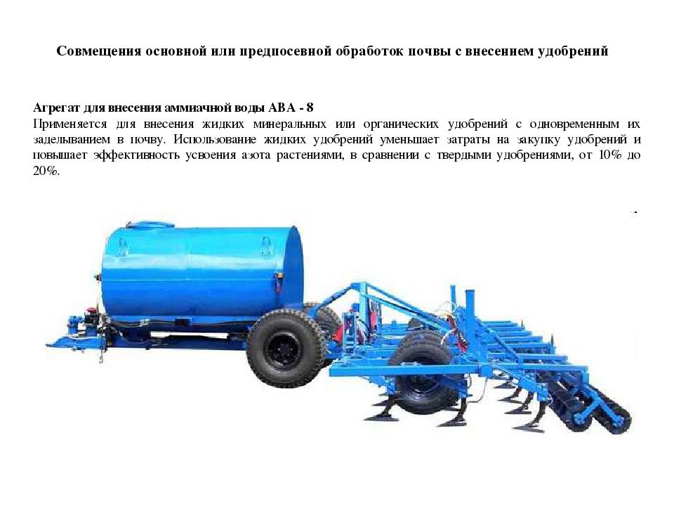 Совмещения основной или предпосевной обработок почвы с внесением удобрений Аг...
