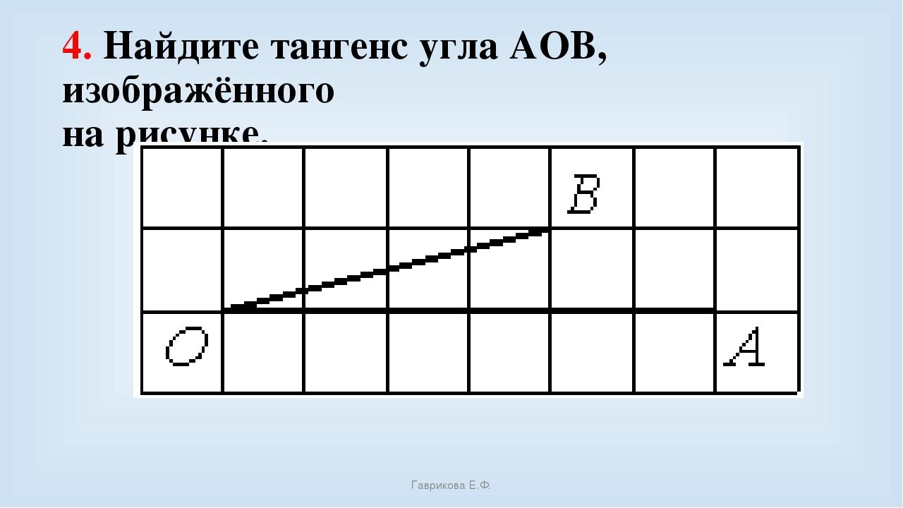 4. Найдите тангенс угла AOB, изображённого на рисунке. Гаврикова Е.Ф. Гаврико...