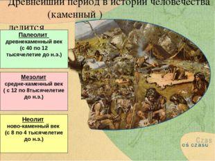 Древнейший период в истории человечества (каменный ) делится Палеолит древнек