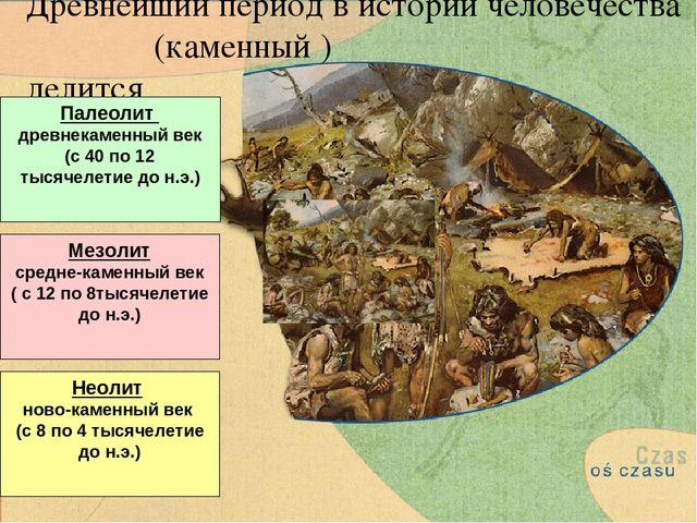 Древнейший период в истории человечества (каменный ) делится Палеолит древнек...