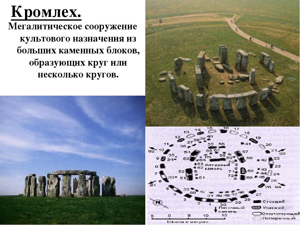 Кромлех. Мегалитическое сооружение культового назначения из больших каменных...