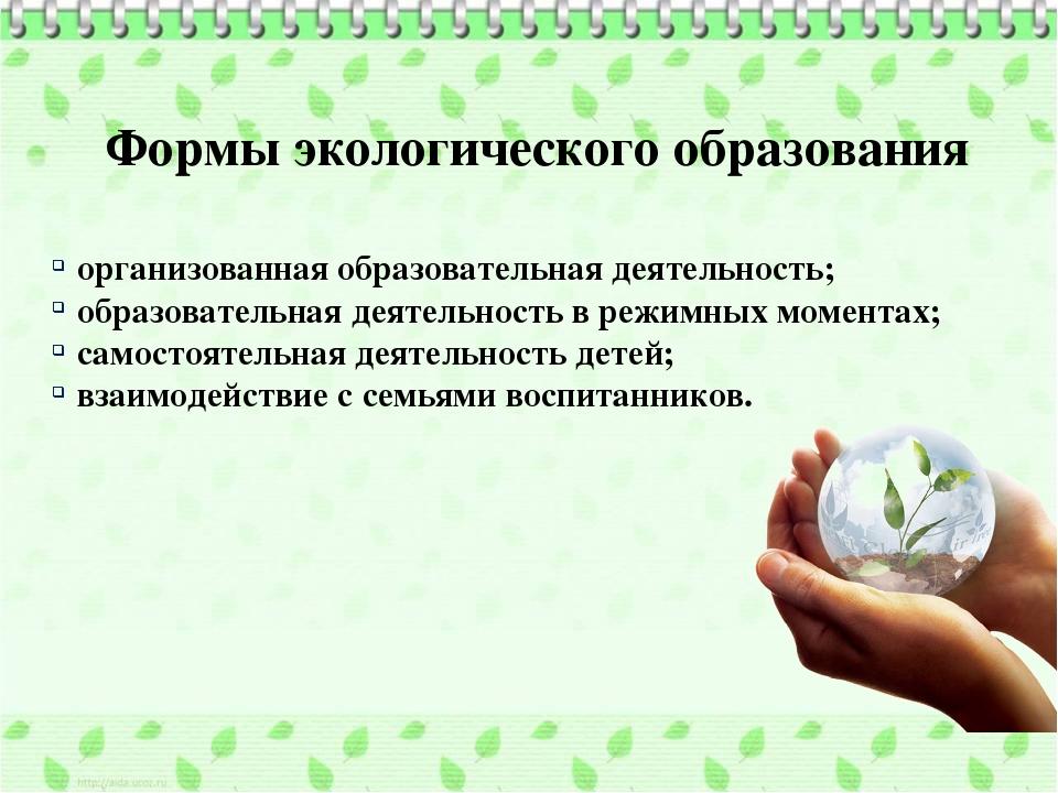 Формыэкологического образования организованная образовательная деятельность;...