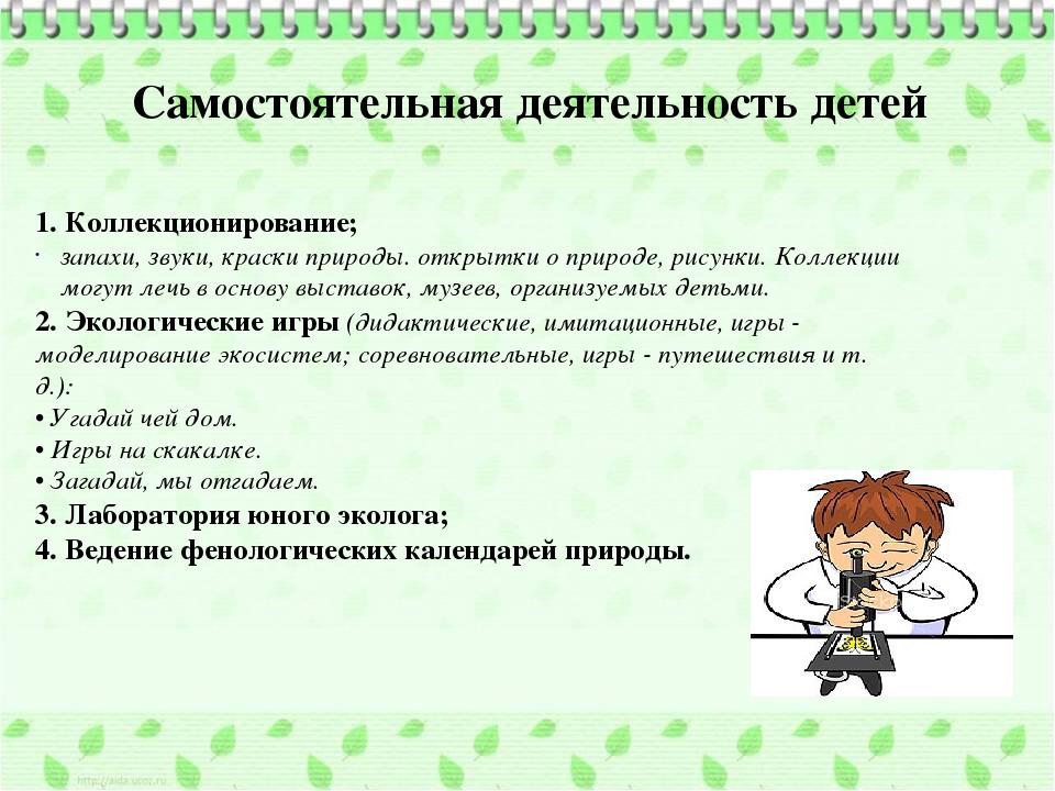 Самостоятельная деятельность детей 1. Коллекционирование; запахи, звуки, крас...