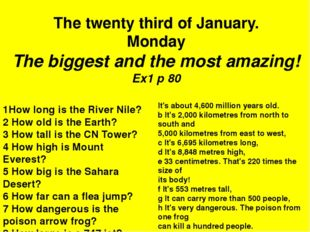 1How long is the River Nile? 2 How old is the Earth? 3 How tall is the CN Tow