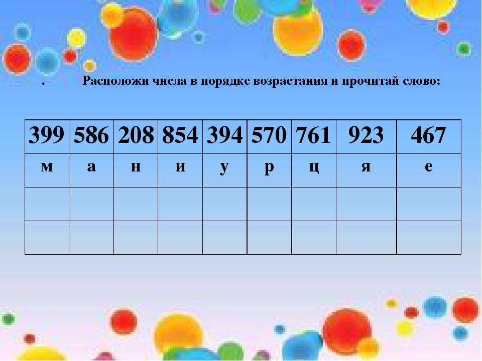. Расположи числа в порядке возрастания и прочитай слово: 399586208854394...