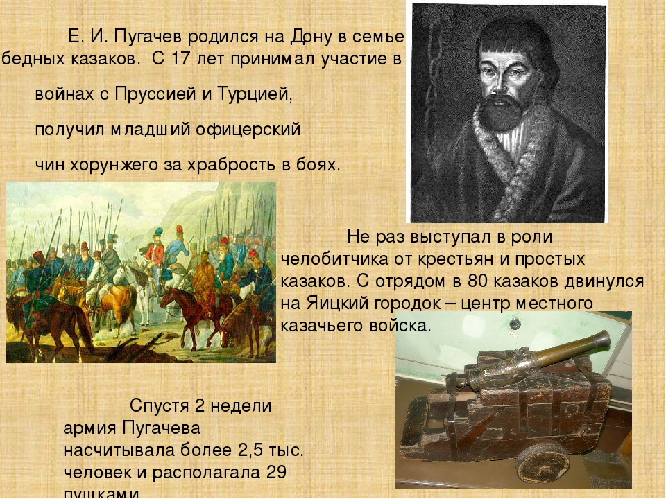 Е. И. Пугачев родился на Дону в семье бедных казаков. С 17 лет принимал уча...