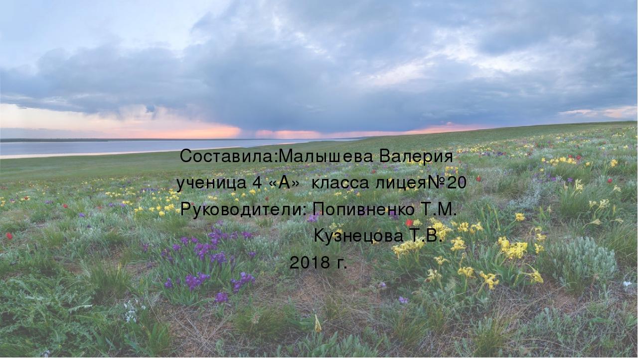 Составила:Малышева Валерия ученица 4 «А» класса лицея№20 Руководители: Попивн...